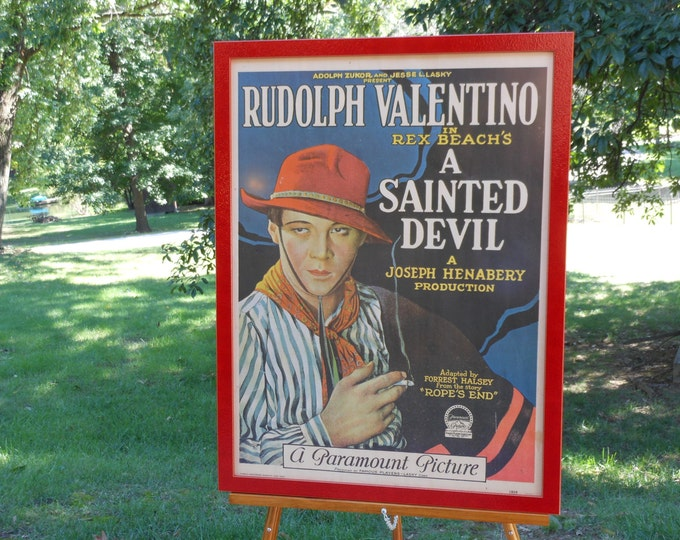 Vintage Newly Framed Litho Reprint Poster of A Sainted Devil, a 1924 Rudolph Valentino Film