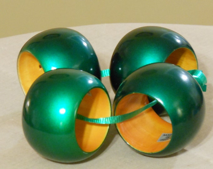 Four Dark Green Glossy Napkin Rings