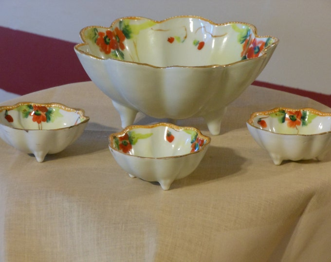 Nippon Four Piece Footed Nut Bowl Set