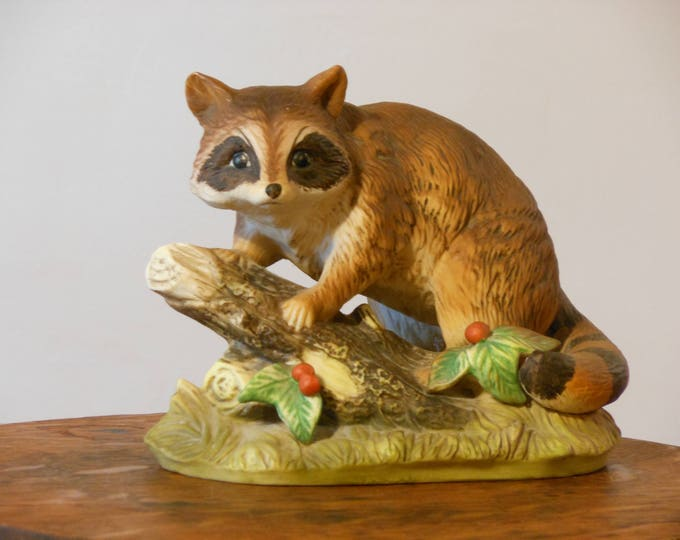 Masterpiece by Homco Hand Painted Porcelain Raccoon #1247