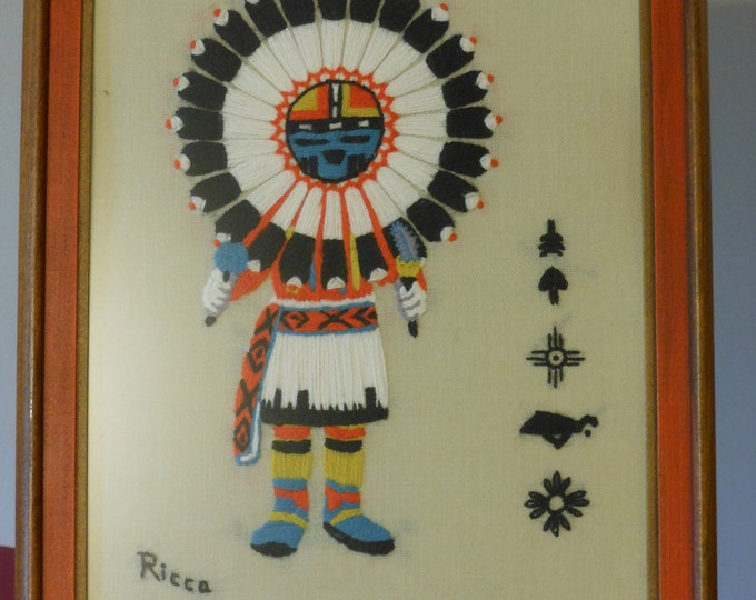 Framed Crochet Native American. Artist Signed Ricca. Navajo/Southwestern