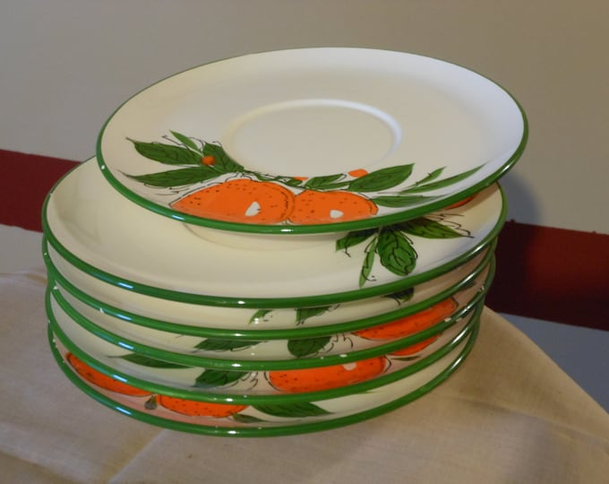 Six Hand Painted Snack Plates