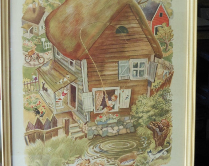 1945 Feodor Rojanovsky Lithograph of Nursery Rhyme Character Little Tommy Tittlemouse
