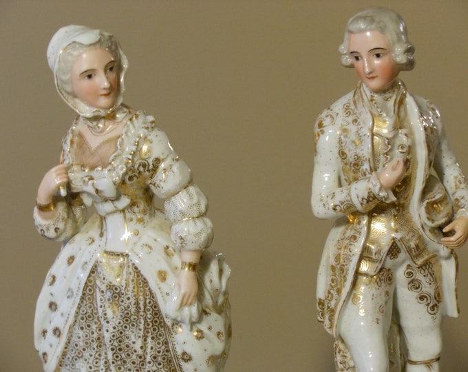 "Old Paris Antique 18"" Tall Gilded Porcelain Male & Female Figurines on Pedestals"