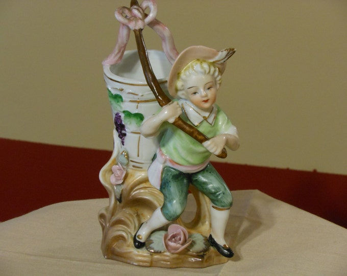 Figurine Planter of a Boy with a Grape Basket