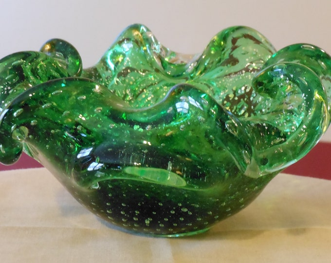 Green & Gold Art Glass Candy Bowl