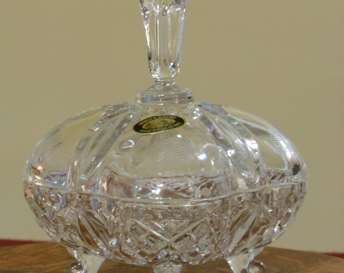 Footed West German 24% Lead Crystal Candy Dish w/ Spire Handle
