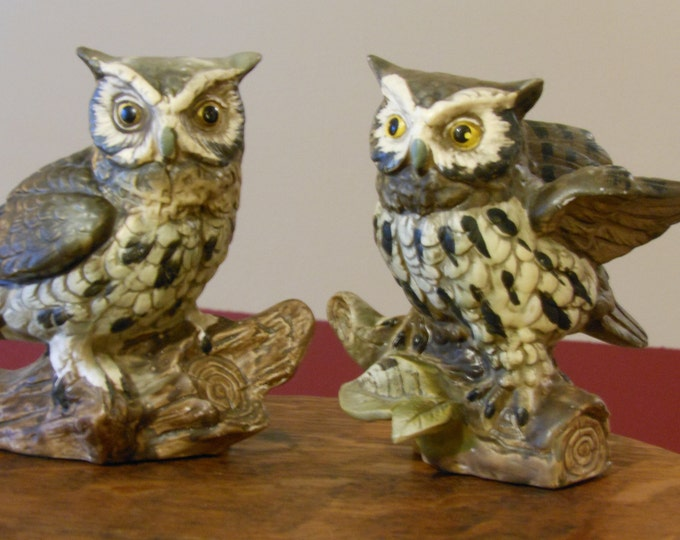 Two Norleans Bisque Porcelain Owls