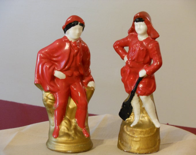 Vintage Painted Milk Glass Figurines