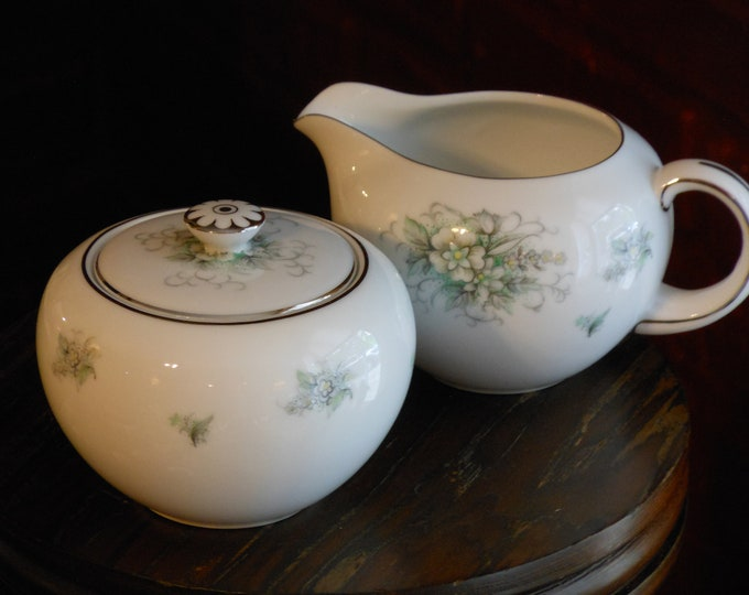 Hira Fine China Sugar Bowl and Creamer