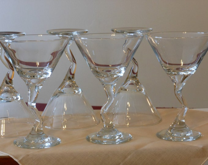 Set of Six Twisted-Stem Margarita Glasses