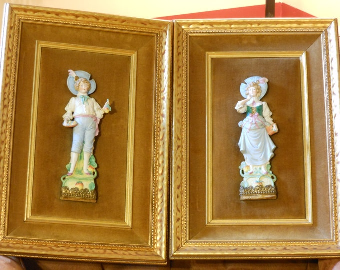 A Pair of Vintage 3D Figurines Mounted on Golden Brown Velvet with Gold Wooden Framing