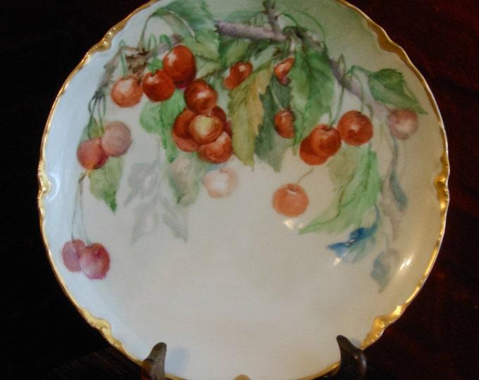 Haviland France Antique Gold-Rimmed Cherry Plate