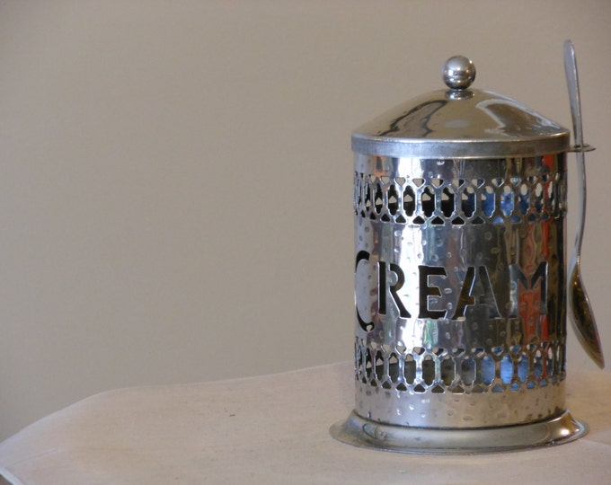 Brass Cream Dispenser with Attached Spoon