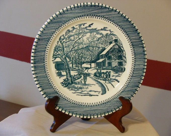 Knowles Currier & Ives Country Life Blue and White Plate