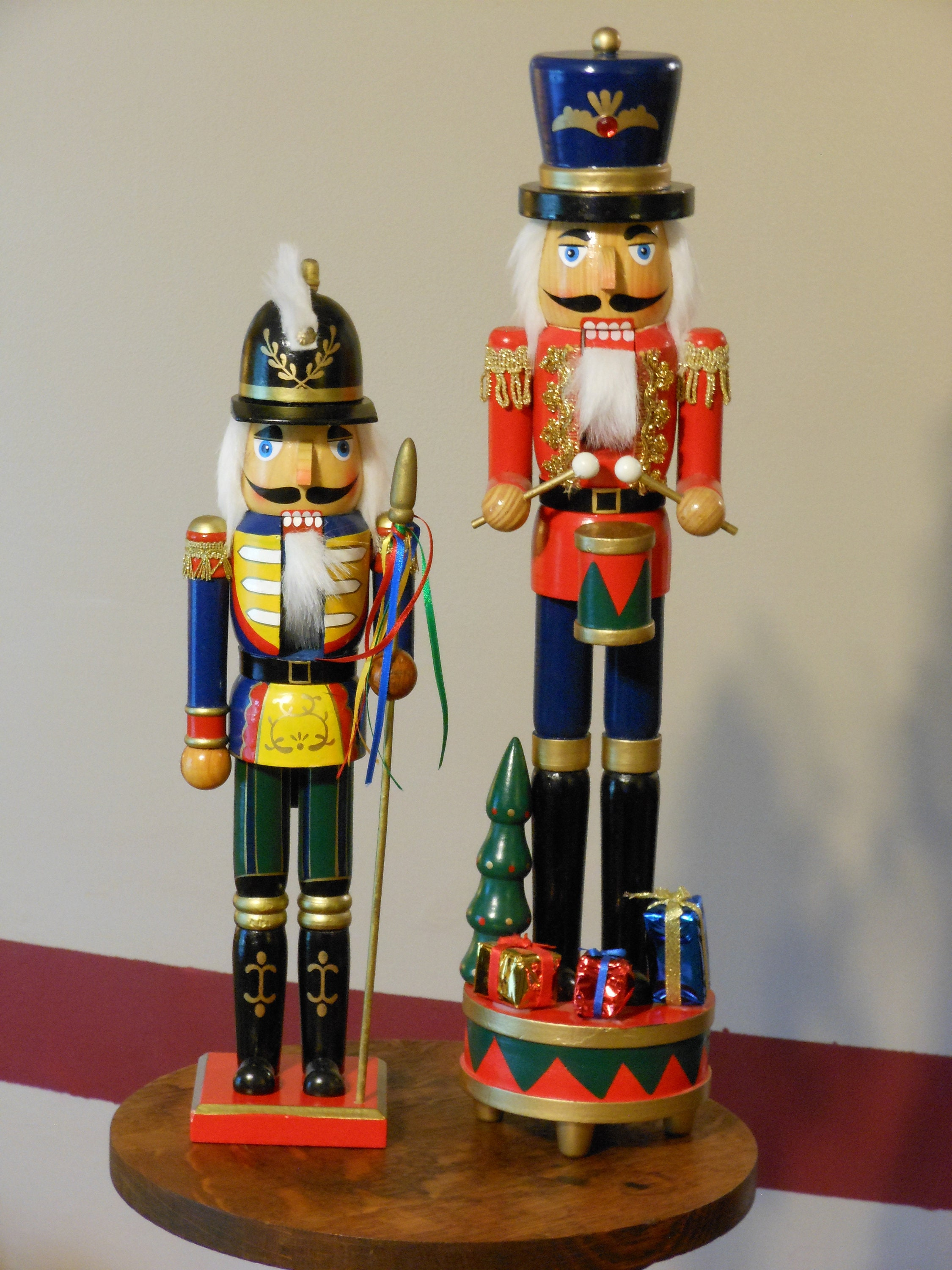 Two Christmas Decor Wooden Nutcrackers