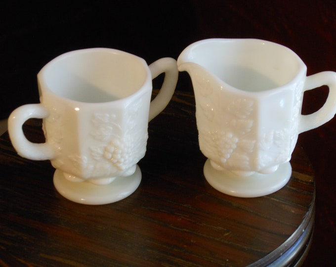 Milk Glass Sugar Bowl and Creamer