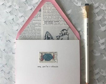 Hand Typed Vintage Postage Mother's Day Card, Mom, you're a classic