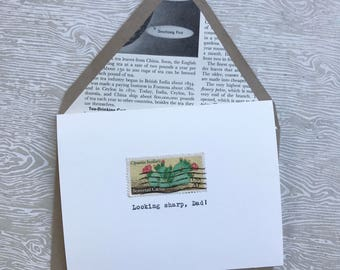Hand-Typed Vintage Postage Greeting Card, Looking Sharp, Dad, cactus Father's Day/Birthday card