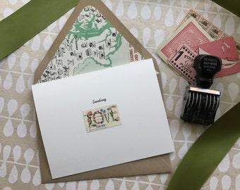 Vintage Postage Greeting Card, Floral Sending Love