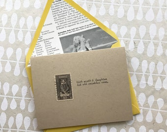Vintage Postage Greeting Card, Shakespeare Quote, Merchant of Venice