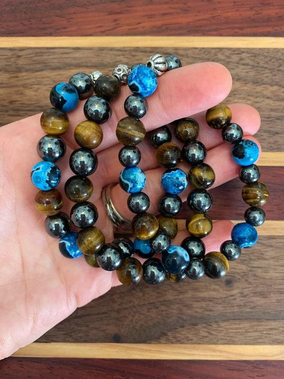 Obsidian Basalt Lava Stone Jasper Black /& white  Handmade  Oil diffuser hippie Hippy  boho Unisex Men Boys Woman Rustic Wirewrap Bracelet
