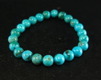 "Genuine Turquoise Bracelet - 7"" 8mm Round Beads"