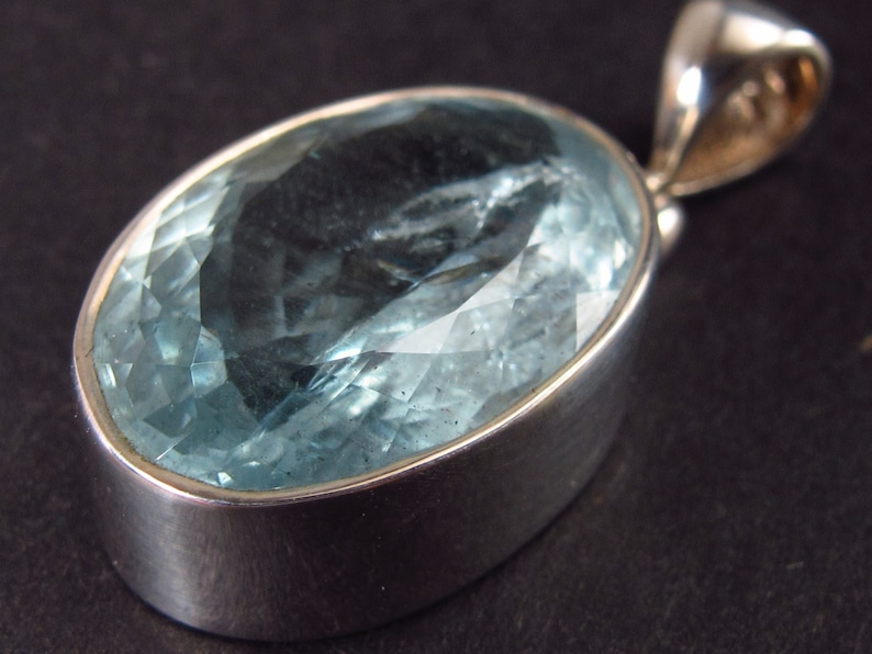1.1 Stunning Faceted Genuine Aquamarine  925 Silver Pendant From Brazil