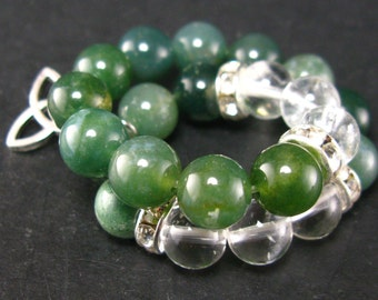 Moss Agate and Quartz Bracelet - 8mm