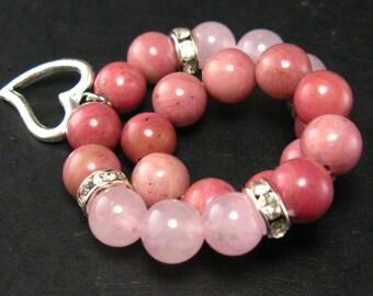 Rhodonite and Rose Quartz Bracelet - 8mm