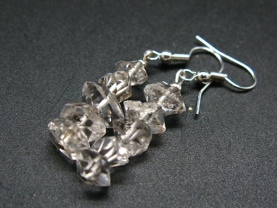 1.9 Fine Herkimer Diamond Beads Dangle 925 Silver Leverback Earrings From New York