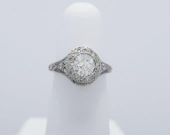 Art Deco Diamond Antique Engagement Ring 1.20ct. White Gold - J34155