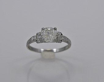 Platinum Art Deco 1.16ct. Diamond Engagement Ring - J35378