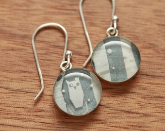 Owl earrings made from recycled Starbucks gift cards, sterling silver and resin