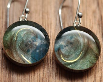 Galaxy earrings with sterling silver and resin. Made from recycled, upcycled Starbucks gift cards.