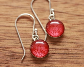 Shimmering Red tiny earrings made from recycled Starbucks gift cards, sterling silver and resin