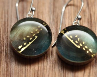 Shimmering earrings with sterling silver and resin. Made from recycled, upcycled Starbucks gift cards.