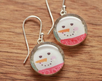 Snowman earrings made from recycled Starbucks gift cards, sterling silver and resin
