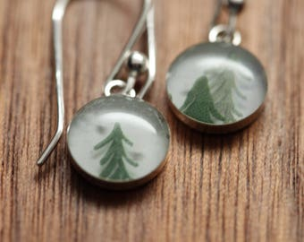 Tiny Tree earrings made from recycled Starbucks gift cards. sterling silver and resin.