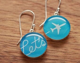 Airplane earrings made from recycled Starbucks gift cards, sterling silver and resin
