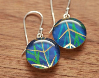 Jungle blue earrings made from recycled Starbucks gift cards, sterling silver and resin