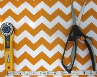 Gold and White Chevron Fabric 1/2 yard