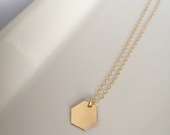 Ella • Hexagon necklace // 14K gold filled hexagon charm