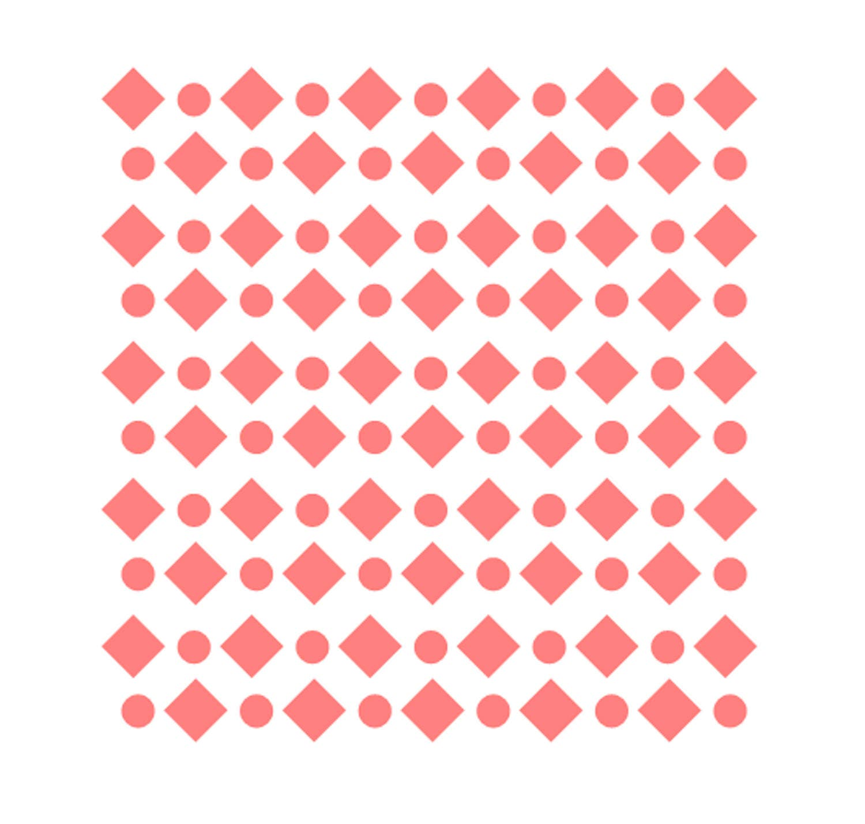 Diamonds Circles Pattern Stencil Shapes Stencil Diamonds Etsy