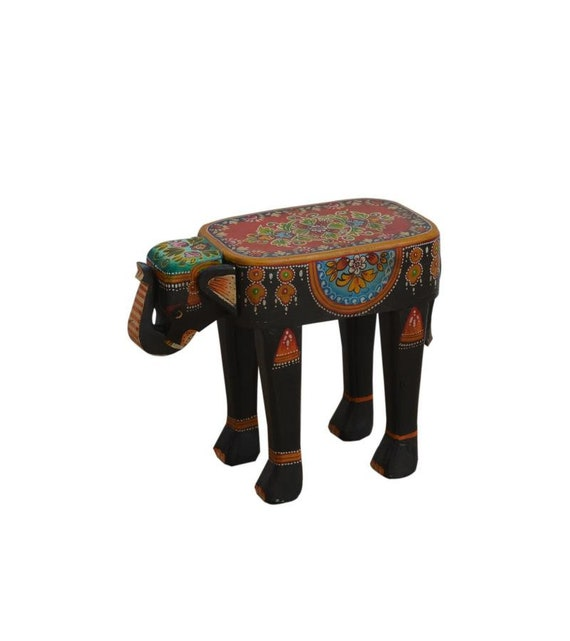 Pleasing Wooden Boho Elephant Stool Onthecornerstone Fun Painted Chair Ideas Images Onthecornerstoneorg