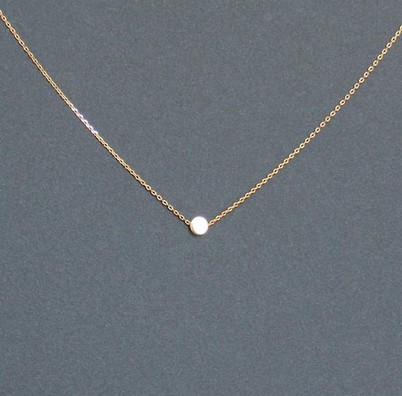 Minimalista estilo collar oro botón perla colgante collar | Etsy