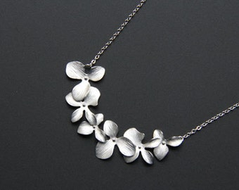 Bridal Necklace with Silver Orchid Pendant, Orchid Necklace, Minimalist, Everyday Jewelry, Wedding Jewelry, Bridemaids gifts, JEW000219