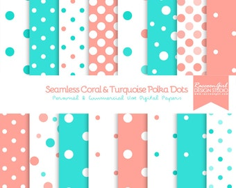 Seamless Coral and Turquoise Polka Dot Pattern Digital Paper Set - Personal & Commercial Us