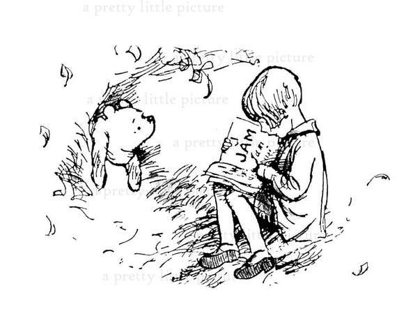Classic Winnie The Pooh Black White Print Featuring