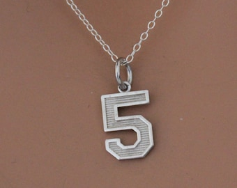 Sterling Silver Number Five Charm Necklace Oxidized Sterling Silver Number Five Necklace 5 Necklace 5 Number Charm Necklace